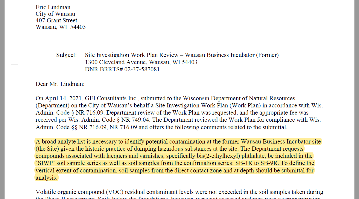 june 11 dnr letter to city of wausau